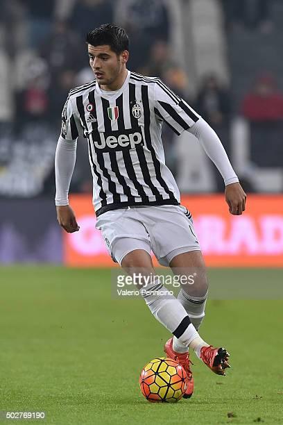 Alvaro Morata of FC Juventus in action during the TIM Cup match between FC Juventus and Torino FC at Juventus Arena on December 16 2015 in Turin Italy