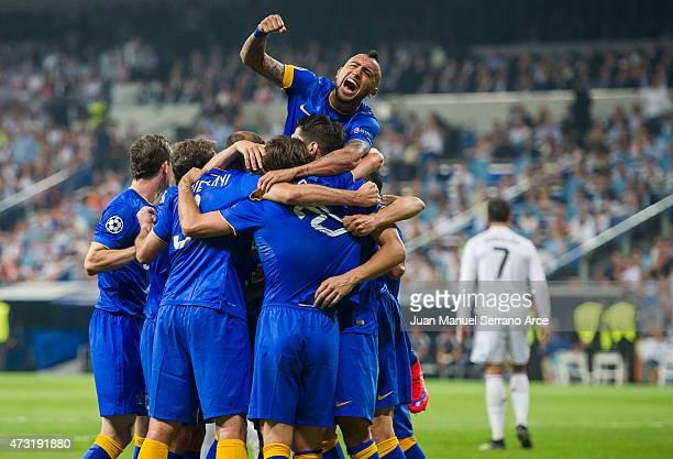 Alvaro Morata of Juventus celebrates after scoring during the UEFA Champions League semi final match between Real Madrid CF and Juventus at Estadio...