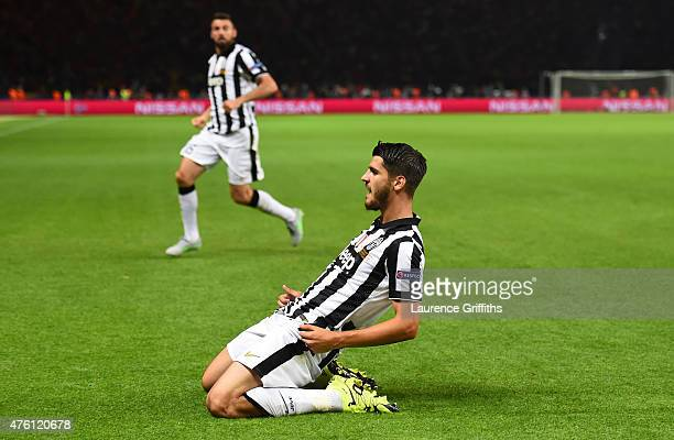 Alvaro Morata of Juventus celebrates scoring his team's first goal during the UEFA Champions League Final between Juventus and FC Barcelona at...