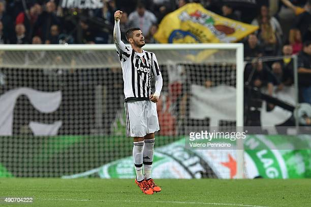 Alvaro Morata of Juventus celebrates the opening goal during the UEFA Champions League group E match between Juventus and Sevilla FC on September 30...