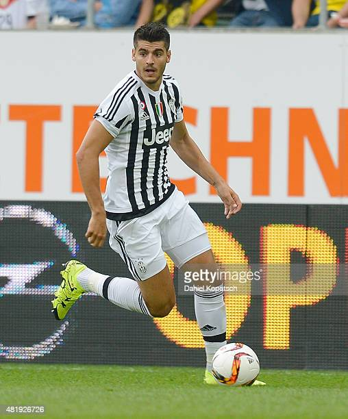 Alvaro Morata of Juventus controls the ball during the friendly match between Juventus and Borussia Dortmund on July 25 2015 in St Gallen Switzerland