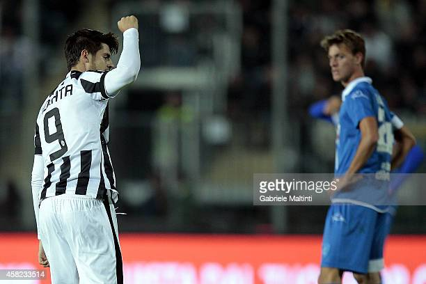 Alvaro Morata of Juventus FC celebrates after scoring a goal during the Serie A match between Empoli FC and Juventus FC at Stadio Carlo Castellani on...