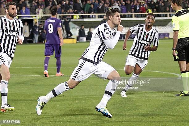Alvaro Morata of Juventus FC celebrates after scoring a goal during the Serie A match between ACF Fiorentina and Juventus FC at Stadio Artemio...
