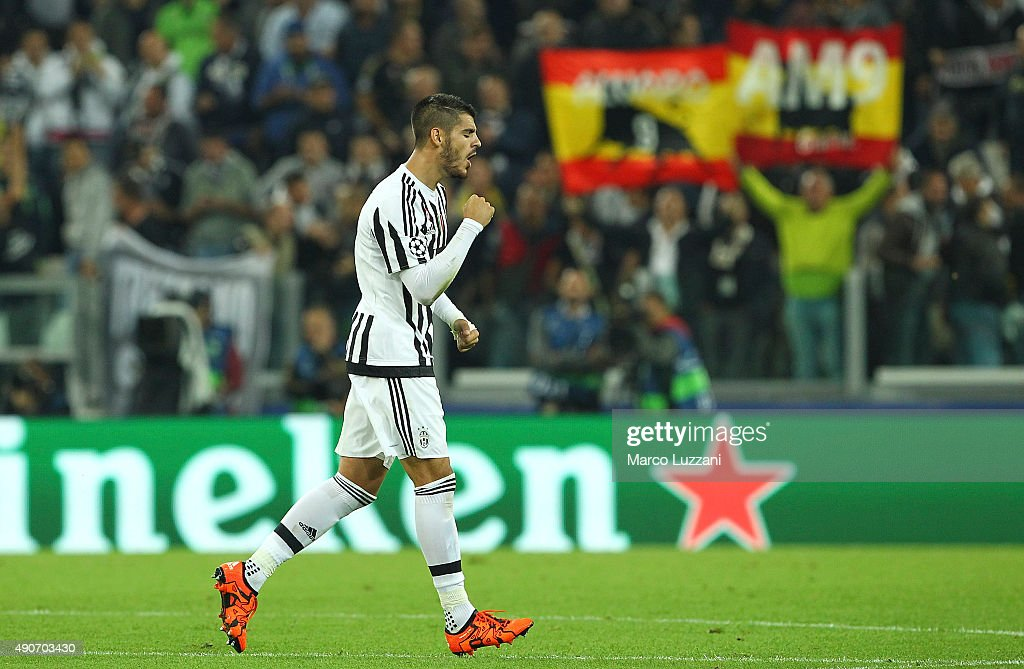 Alvaro Morata of Juventus FC celebrates after scoring the opening goal during the UEFA Champions League group E match between Juventus and Sevilla FC...