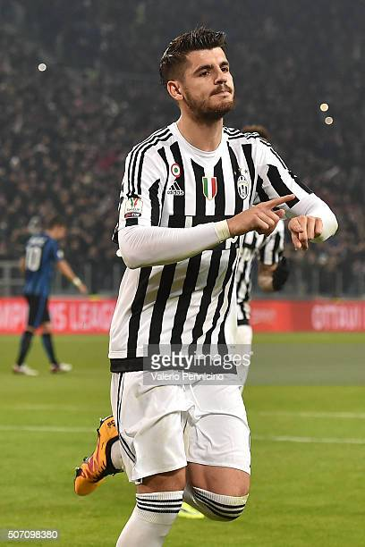 Alvaro Morata of Juventus FC celebrates after scoring the opening goal from the penalty spot during the TIM Cup match between Juventus FC and FC...