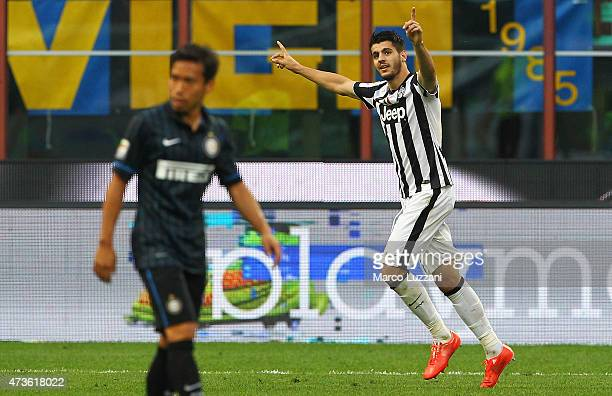 Alvaro Morata of Juventus FC celebrates his goal during the Serie A match between FC Internazionale Milano and Juventus FC at Stadio Giuseppe Meazza...
