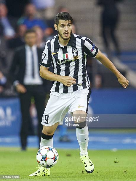 Alvaro Morata of Juventus FC during the UEFA Champions League final match between Barcelona and Juventus on June 6 2015 at the Olympic stadium in...