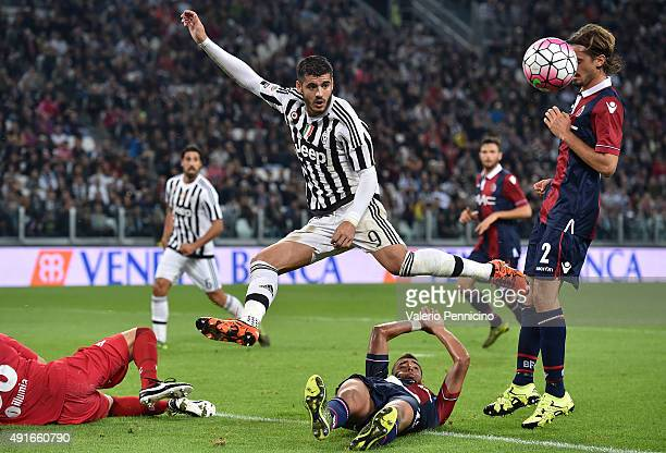 Alvaro Morata of Juventus FC in action during the Serie A match between Juventus FC and Bologna FC at Juventus Arena on October 4 2015 in Turin Italy
