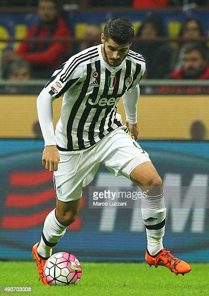 Alvaro Morata of Juventus FC in action during the Serie A match between FC Internazionale Milano and Juventus FC at Stadio Giuseppe Meazza on October...