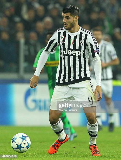 Alvaro Morata of Juventus FC in action during the UEFA Champions League group stage match between Juventus and VfL Borussia Moenchengladbach at...