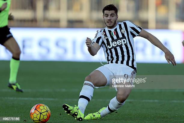 Alvaro Morata of Juventus FC in actrion during the Serie A match between Empoli FC and Juventus FC at Stadio Carlo Castellani on November 8 2015 in...