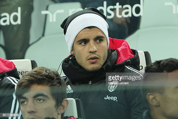 Alvaro Morata of Juventus FC looks on before the Serie A match betweeen Juventus FC and ACF Fiorentina at Juventus Arena on December 13 2015 in Turin...