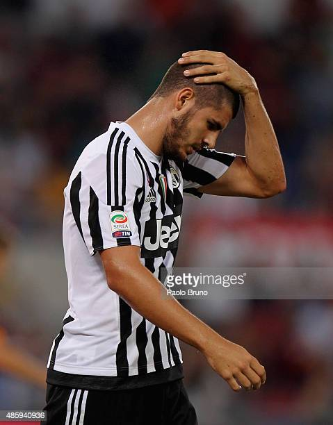 Alvaro Morata of Juventus FC reacts during the Serie A match between AS Roma and Juventus FC at Stadio Olimpico on August 30 2015 in Rome Italy