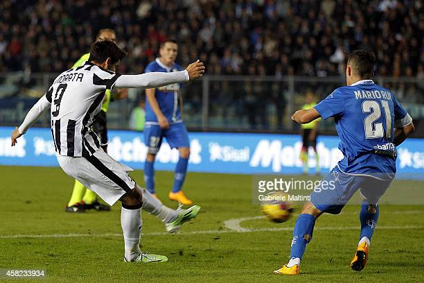 Alvaro Morata of Juventus FC scores a goal during the Serie A match between Empoli FC and Juventus FC at Stadio Carlo Castellani on November 1 2014...