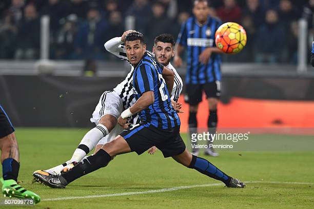 Alvaro Morata of Juventus FC scores his second goal during the TIM Cup match between Juventus FC and FC Internazionale Milano at Juventus Arena on...