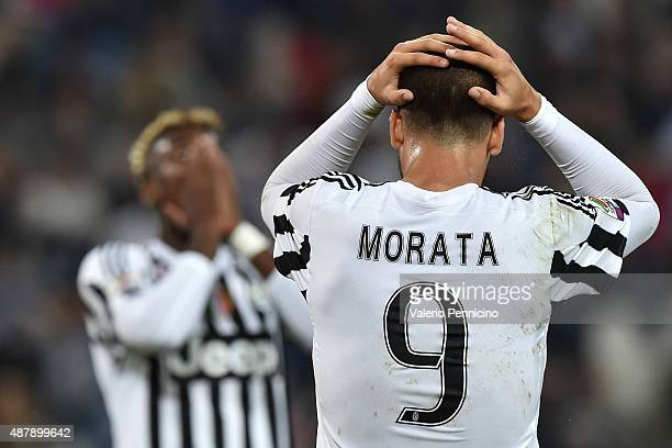 Alvaro Morata of Juventus FC shows his dejection during the Serie A match between Juventus FC and AC Chievo Verona at Juventus Arena on September 12...