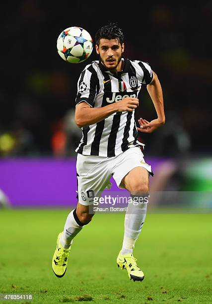 Alvaro Morata of Juventus in action during the UEFA Champions League Final between Juventus and FC Barcelona at Olympiastadion on June 6 2015 in...