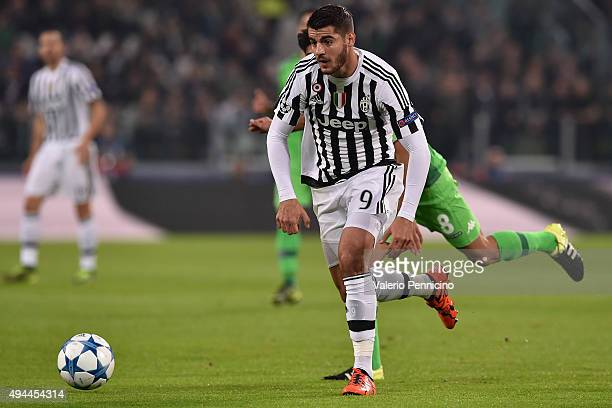 Alvaro Morata of Juventus in action during the UEFA Champions League group stage match between Juventus and VfL Borussia Moenchengladbach at Juventus...