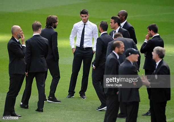 Alvaro Morata of Juventus looks on while inspecting the pitch at Estadio Santiago Bernabeu ahead of the UEFA Champions League Semi final Second Leg...