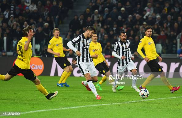 Alvaro Morata of Juventus scores their second goal during the UEFA Champions League Round of 16 first leg match between Juventus and Borussia...