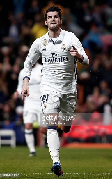 Alvaro Morata of Real Madrid celebrates after scoring a goal during the La Liga soccer match between Real Madrid CF and Real Sociedad at Santiago...
