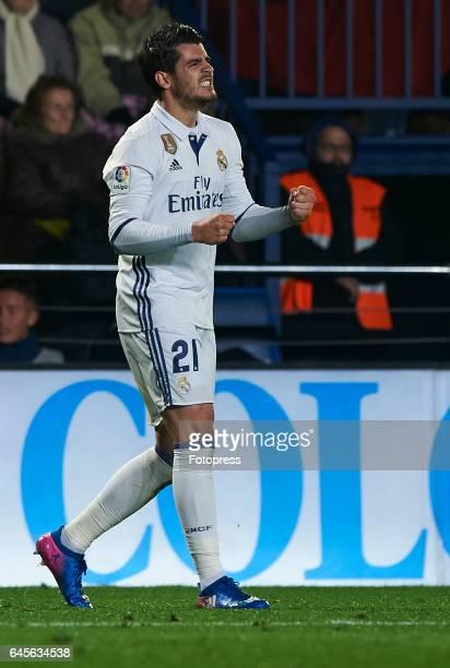 Alvaro Morata of Real Madrid celebrates after scoring a goal during the La Liga match between Villarreal CF and Real Madrid at Estadio de la Ceramica...