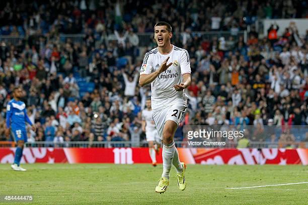 Alvaro Morata of Real Madrid celebrates after scoring during the La Liga match between Real Madrid and UD Almeria at Estadio Santiago Bernabeu on...