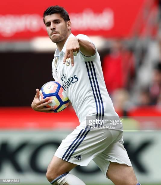 Alvaro Morata of Real Madrid celebrates after scoring during the La Liga match between Real Sporting de Gijon and Real Madrid at Estadio El Molinon...