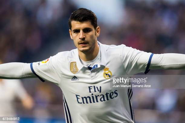 Alvaro Morata of Real Madrid celebrates after scoring goal during the La Liga match between RC Deportivo La Coruna and Real Madrid at Riazor Stadium...