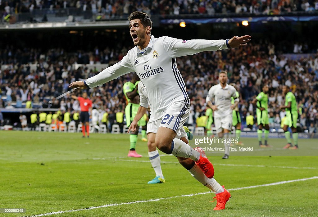 Alvaro Morata of Real Madrid celebrates after scoring his team's second goal during the UEFA Champions League Group F match between Real Madrid CF and Sporting Clube de Portugal on September 14, 2016 in Madrid, Spain.