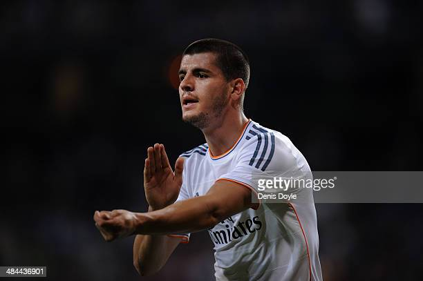 Alvaro Morata of Real Madrid celebrates after scoring Real's 4th goal during the La Liga match between Real Madrid and Almeria at Santiago Bernabeu...