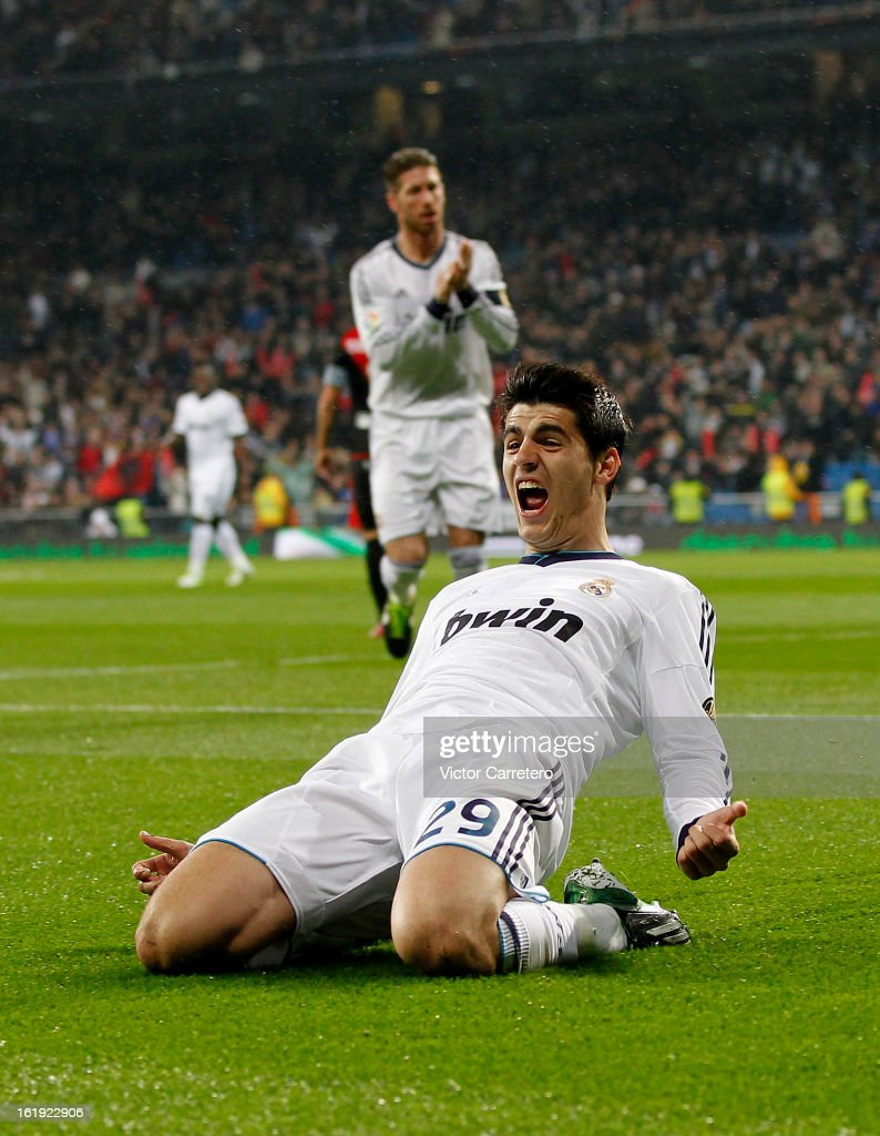 <a gi-track='captionPersonalityLinkClicked' href=/galleries/search?phrase=Alvaro+Morata&family=editorial&specificpeople=6523866 ng-click='$event.stopPropagation()'>Alvaro Morata</a> of Real Madrid celebrates after scoring the opening goal during the La Liga match between Real Madrid and Rayo Vallecano at Estadio Santiago Bernabeu on February 17, 2013 in Madrid, Spain.