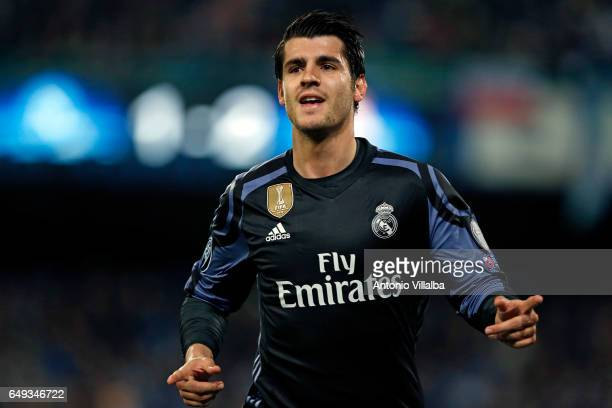 Alvaro Morata of Real Madrid celebrates the third goal of his team during the UEFA Champions League Round of 16 second leg match between SSC Napoli...