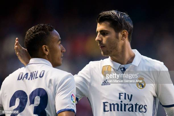 Alvaro Morata of Real Madrid celebrates with his teammate Danilo of Real Madrid after scoring the opening goal during the La Liga match between RC...
