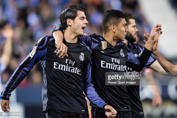 Alvaro Morata of Real Madrid celebrates with teammate Carlos Henrique Casemiro during their La Liga match between Deportivo Leganes and Real Madrid...