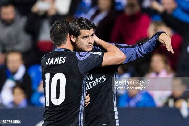 Alvaro Morata of Real Madrid celebrates with teammate James Rodriguez during their La Liga match between Deportivo Leganes and Real Madrid at the...