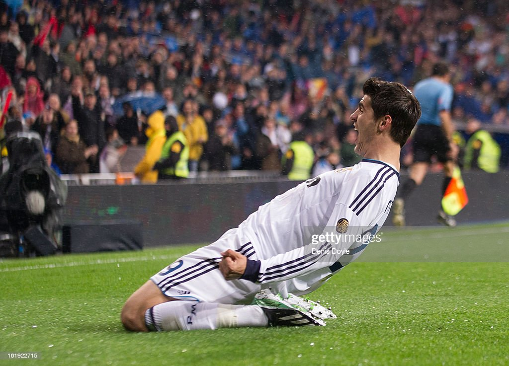 <a gi-track='captionPersonalityLinkClicked' href=/galleries/search?phrase=Alvaro+Morata&family=editorial&specificpeople=6523866 ng-click='$event.stopPropagation()'>Alvaro Morata</a> of Real Madrid CF celebrates after scoring Real's opening goal during the La Liga match between Real Madrid CF and Rayo Vallecano at estadio Santiago Bernabeu on February 17, 2013 in Madrid, Spain.