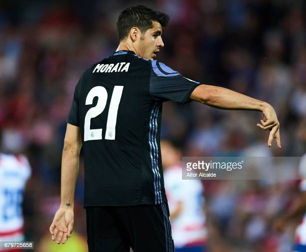 Alvaro Morata of Real Madrid CF celebrates after scoring the second goal during the La Liga match between Granada CF v Real Madrid CF at Estadio...