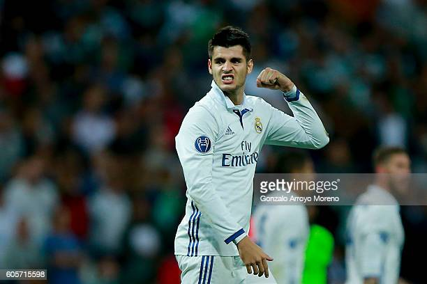 Alvaro Morata of Real Madrid CF celebrates after winning the UEFA Champions League group stage match between Real Madrid CF and Sporting Clube de...