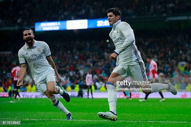 Alvaro Morata of Real Madrid CF celebrates scoring their second goal during the La Liga match between Real Madrid CF and Athletic Club de Bilbao at...