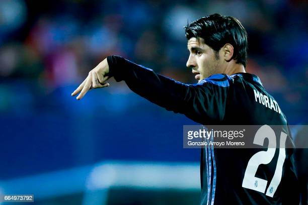 Alvaro Morata of Real Madrid CF celebrates scoring their third goal during the La Liga match between CD Leganes and Real Madrid CF at Estadio...