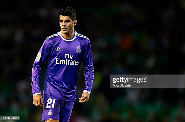 Alvaro Morata of Real Madrid CF in action during the match between Real Betis Balompie and Real Madrid CF as part of La Liga at Benito Villamrin...
