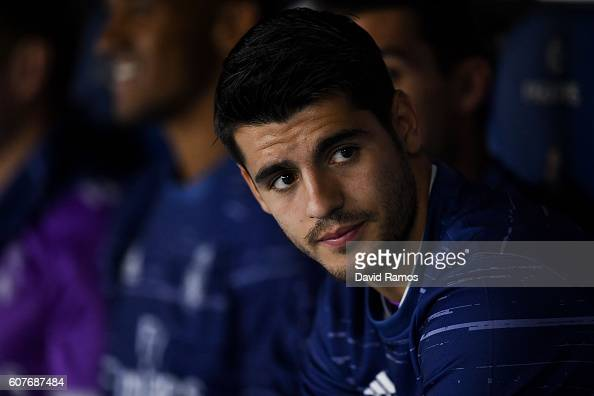Alvaro Morata of Real Madrid CF looks on prior to the La Liga match between RCD Espanyol and Real Madrid CF at the RCDE stadium on September 18 2016...
