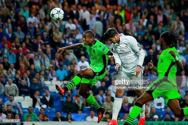 Alvaro Morata of Real Madrid CF scores their second goal during the UEFA Champions League group stage match between Real Madrid CF and Sporting Clube...