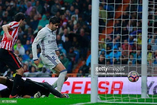 Alvaro Morata of Real Madrid CF scores their second goal during the La Liga match between Real Madrid CF and Athletic Club de Bilbao at Estadio...
