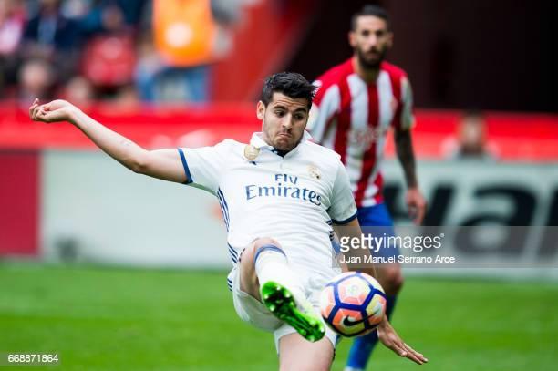 Alvaro Morata of Real Madrid controls the ball during the La Liga match between Real Sporting de Gijon and Real Madrid at Estadio El Molinon on April...