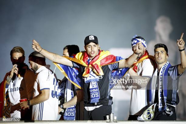 Alvaro Morata of Real Madrid during celebrations at Cibeles Fountain after winning the 2016/17 Spanish football league at Madrid on May 21 2017