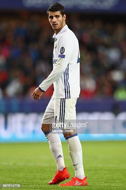 Alvaro Morata of Real Madrid during the UEFA Super Cup match between Real Madrid and Sevilla at Lerkendal Stadium on August 9 2016 in Trondheim Norway