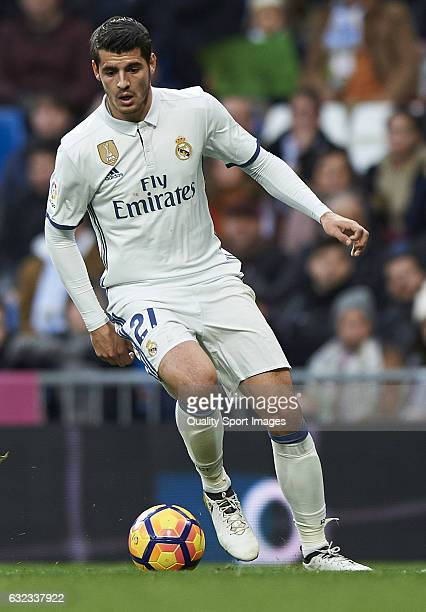 Alvaro Morata of Real Madrid in action during the La Liga match between Real Madrid CF and Malaga CF at Estadio Santiago Bernabeu on January 21 2017...
