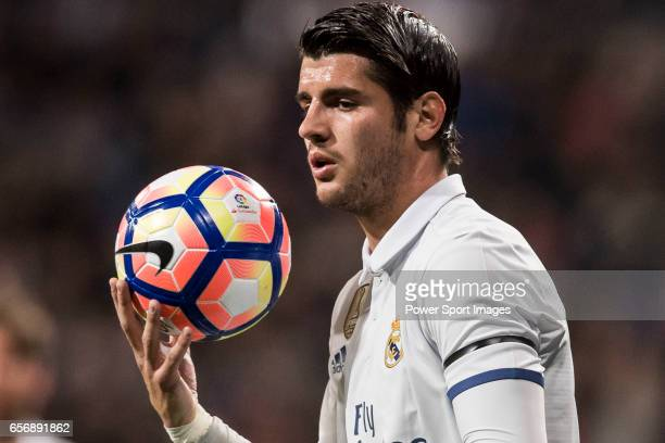 Alvaro Morata of Real Madrid in action during their La Liga match between Real Madrid and Real Betis at the Santiago Bernabeu Stadium on 12 March...